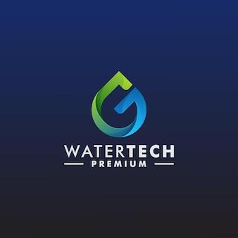 Lettre g abstraite goutte d'eau logo design template vecteur