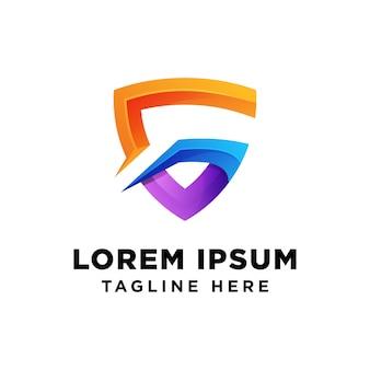 Lettre g bouclier logo vecteur premium