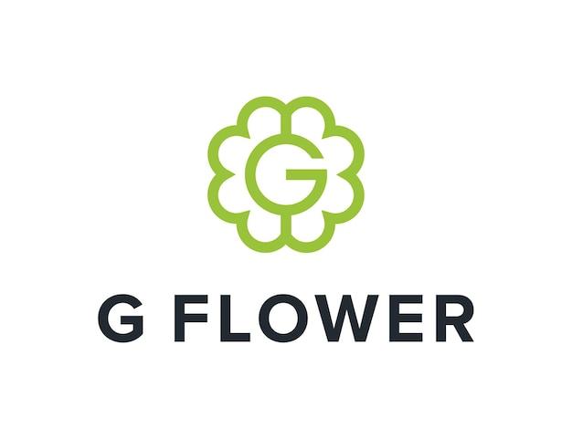 Lettre g avec contour de fleur simple création de logo moderne géométrique créatif élégant
