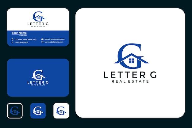 Lettre g avec création de logo de maison et carte de visite
