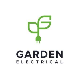 Lettre g avec feuille de plante et steker électrique contour simple création de logo moderne géométrique créatif