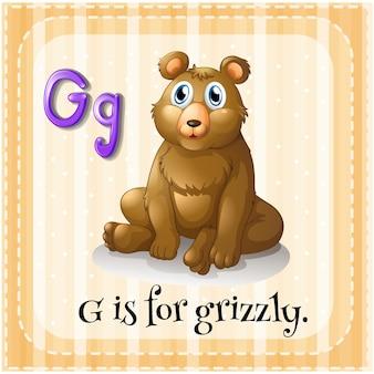 La lettre g de flashcard est pour le grizzly
