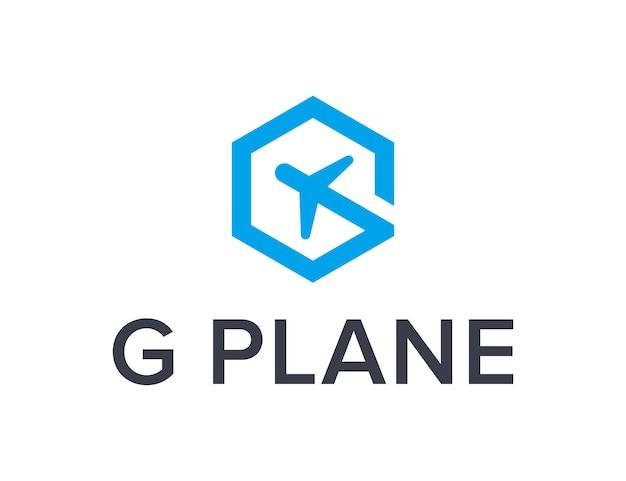 Lettre g avec hexagone et avion simple création de logo géométrique moderne et élégant