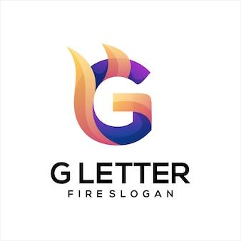 Lettre g avec logo dégradé coloré de feu