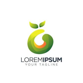 Lettre g logo design fruits naturels