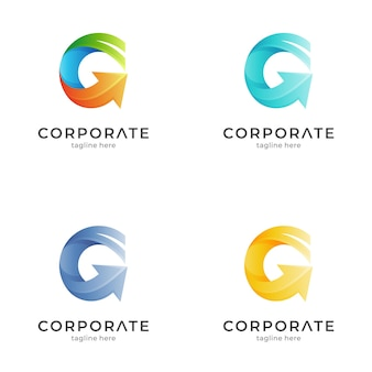 Lettre g avec modèle de logo flèche avec variation de couleur
