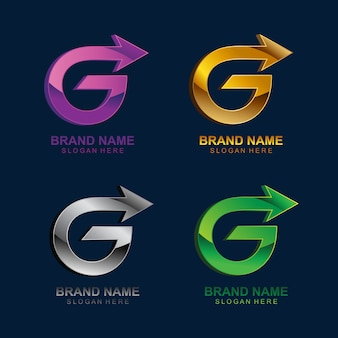 Lettre g avec modèle de logo de flèche