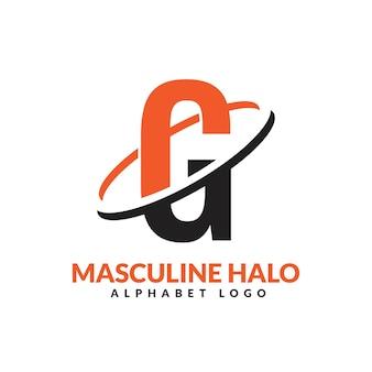 Lettre g orange et noir anneau géométrique masculin logo vector illustration icône