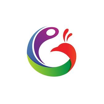 Lettre g paon logo vector