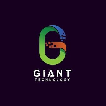 Lettre g avec pixel pour le logo de la technologie