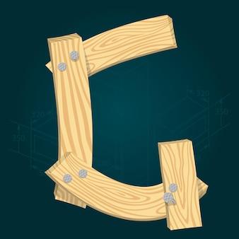 Lettre g - police vectorielle stylisée faite de planches de bois martelées avec des clous en fer.