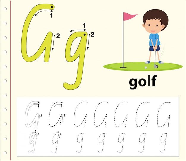 Lettre g de traçage alphabet