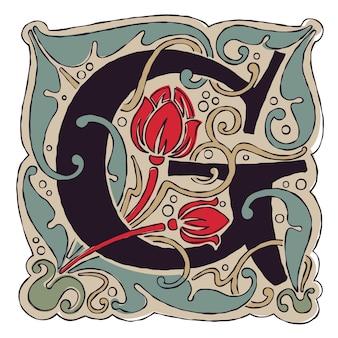 Lettre g vintage couleurs logo initial gothique antique.