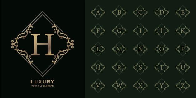 Lettre h ou alphabet initial de collection avec modèle de logo doré cadre floral ornement de luxe.
