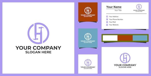 Lettre h hammer logo services de bricoleur conception de logo de vecteur et conception de carte de visite vecteur premium