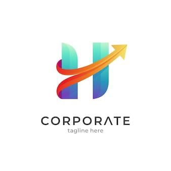 Lettre h avec modèle de logo d'entreprise flèche