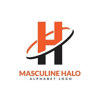 Lettre h orange et noir anneau géométrique masculin logo vector illustration icône