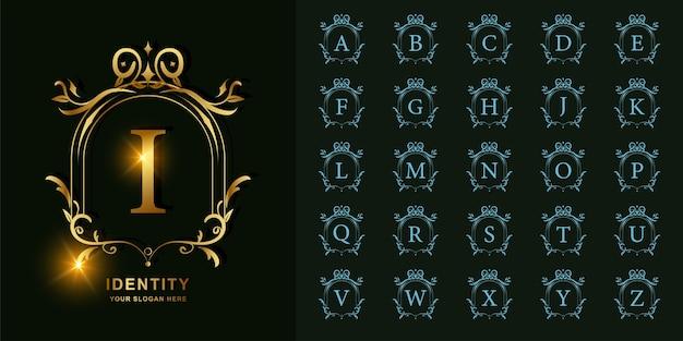 Lettre i ou alphabet initial de collection avec modèle de logo doré cadre floral ornement de luxe.