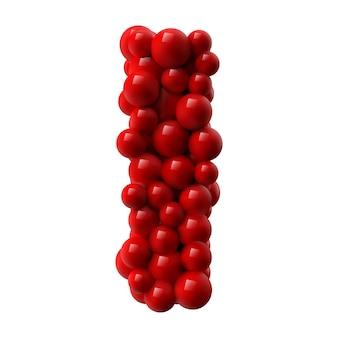 Lettre i avec des boules brillantes de couleur rouge. illustration réaliste.