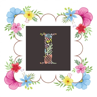 Lettre i initial avec vecteur floral