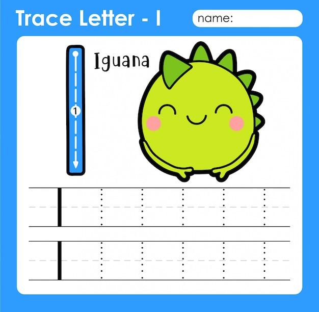 Lettre i en majuscule - feuille de traçage des lettres de l'alphabet avec iguane