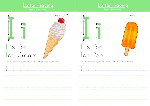 Lettre i traçant l'alphabet alimentaire