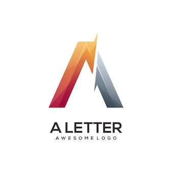 Lettre une illustration colorée de dégradé de logo