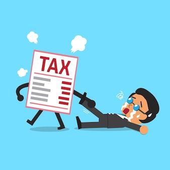 Lettre d'impôt de dessin animé faisant glisser l'homme d'affaires