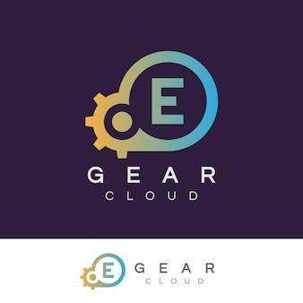 Lettre d'information initiale de technologie de nuage e logo de conception