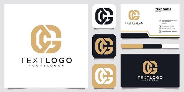 Lettre initiale abstraite cg cg modèle de conception de logo minimal et carte de visite