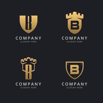 Lettre initiale b et bouclier avec style doré