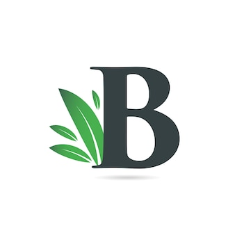 Lettre initiale b feuille logo