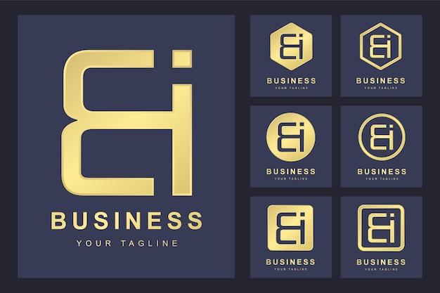 Lettre initiale bi avec plusieurs versions, modèle de logo doré élégant