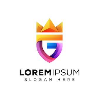 Lettre initiale colorée g avec logo couronne, logo bouclier lettre g