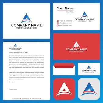 Lettre initiale du logo a ou triangle dans la carte de visite premium vector logo premium
