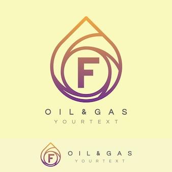 Lettre initiale du pétrole et du gaz lettre f création de logo