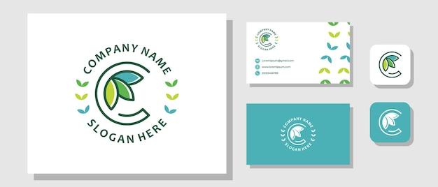 Lettre initiale c feuille nature plante organique fraîche création de logo moderne avec mise en page de l'identité de la marque