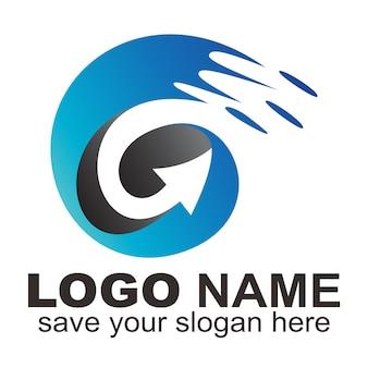 Lettre initiale g logo flèche rapide