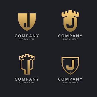 Lettre initiale j et bouclier avec style doré