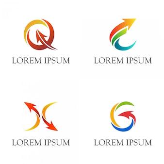 Lettre initiale avec jeu de logo d'entreprise de flèches