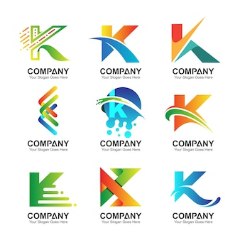 Lettre initiale k logo collection