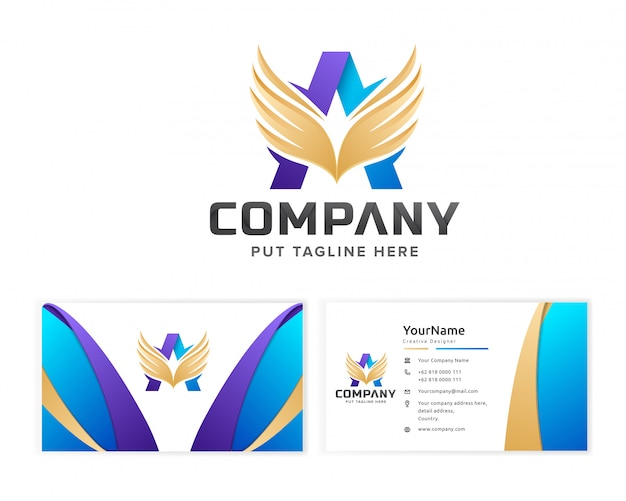 Lettre initiale un logo modèle pour entreprise avec carte de visite