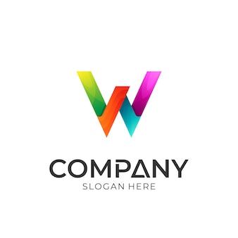 Lettre initiale logo technologie w