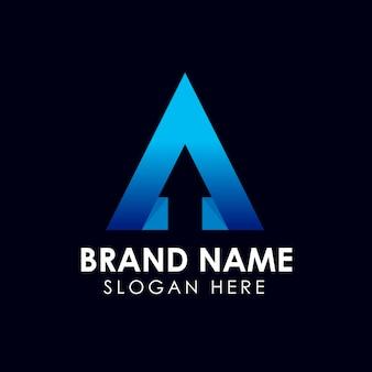 Lettre initiale un modèle de logo dans le style des gradients avec flèche sens caché