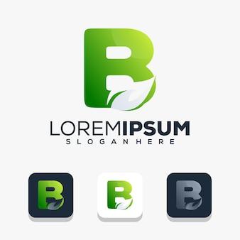 Lettre initiale moderne b avec création de logo de feuille