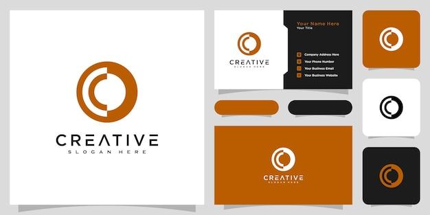 Lettre initiale o conception de vecteur de style de ligne de logo et carte de visite