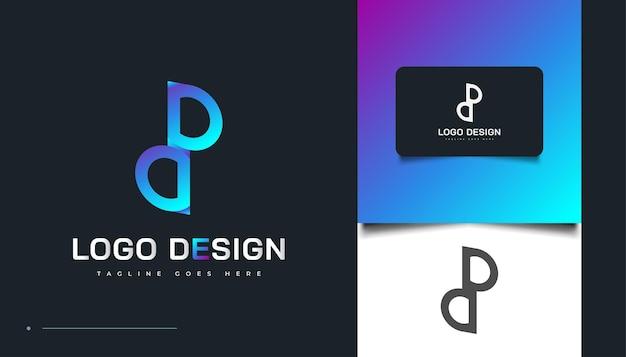 Lettre initiale p et d logo avec conception de concept liée en dégradé bleu moderne. logo initial du pd