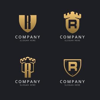 Lettre initiale r et bouclier avec style doré