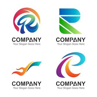 Lettre initiale r logo set