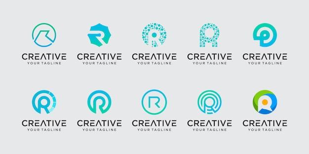 Lettre initiale r rr icônes de modèle de logo pour les entreprises de la technologie du sport de la mode numérique